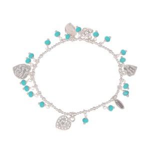 Filao Bracelet Perles d'Argent Massif Turquoise