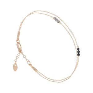 Bracelet Doré Or Fin Filao Perles Onyx et Labradorite