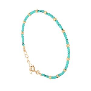 Bracelet Argent Filao Doré Or Fin Turquoise