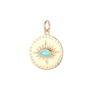 Médaille Argent Filao Dorée Or Fin Turquoise