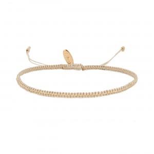 filao bracelet tissage macramé beige et doré