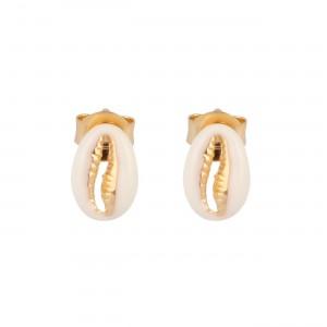 filao Boucles puces coquillages dorées à l'or fin 24 carats