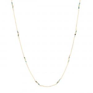 filao longue chaine dorée à l'or fin 24 carats perles Turquoise