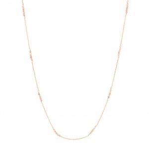 filao longue chaine dorée à l'or fin 24 carats perles Rhodocrosite
