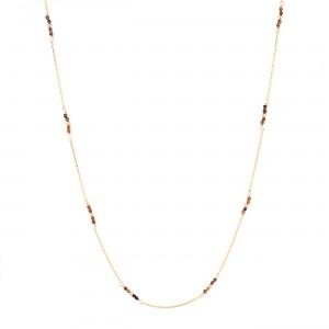 filao longue chaine dorée à l'or fin 24 carats perles Oeil de tigre