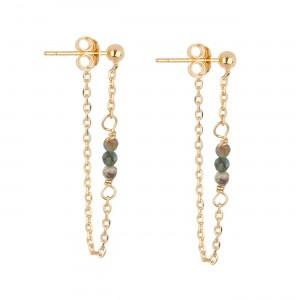 filao boucles d'oreilles dorées à l'or fin 24 carats perles Turquoise