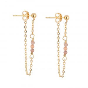 filao boucles d'oreilles dorées à l'or fin 24 carats perles Rhodocrosite