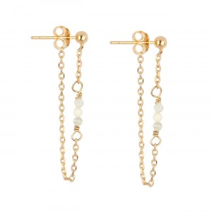filao boucles d'oreilles dorées à l'or fin 24 carats perles Coquillage