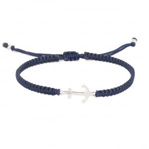 filao bracelet homme macramé ancre argent massif bleu