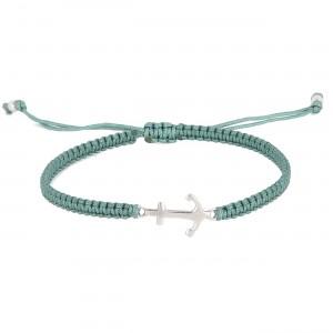 filao bracelet homme macramé ancre argent massif turquoise