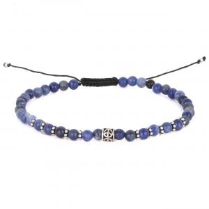 filao bracelet homme Sodalite bleue 4mm Peace argent massif