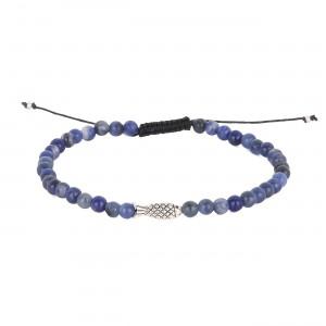 filao bracelet homme Sodalite bleue 4mm poisson argent massif