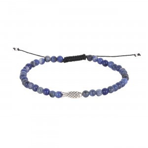 filao bracelet garçon kid Sodalite bleue 4mm poisson argent massif