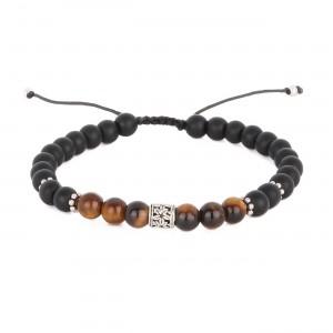 filao bracelet homme agathe noire et oeil de tigre 6mm hibiscus argent massif