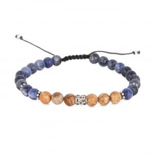 filao bracelet homme sodalite bleue et de jaspe sable 6mm hibiscus argent massif