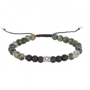 filao bracelet homme agathe noire et african turquoise 6mm hibiscus argent massif