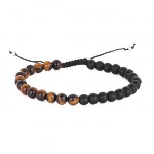 filao bracelet homme bicolore agathe noire et d'oeil de tigre 6mm