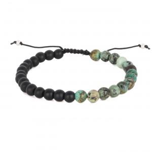 filao bracelet homme bicolore agathe noire et african turquoise 6mm