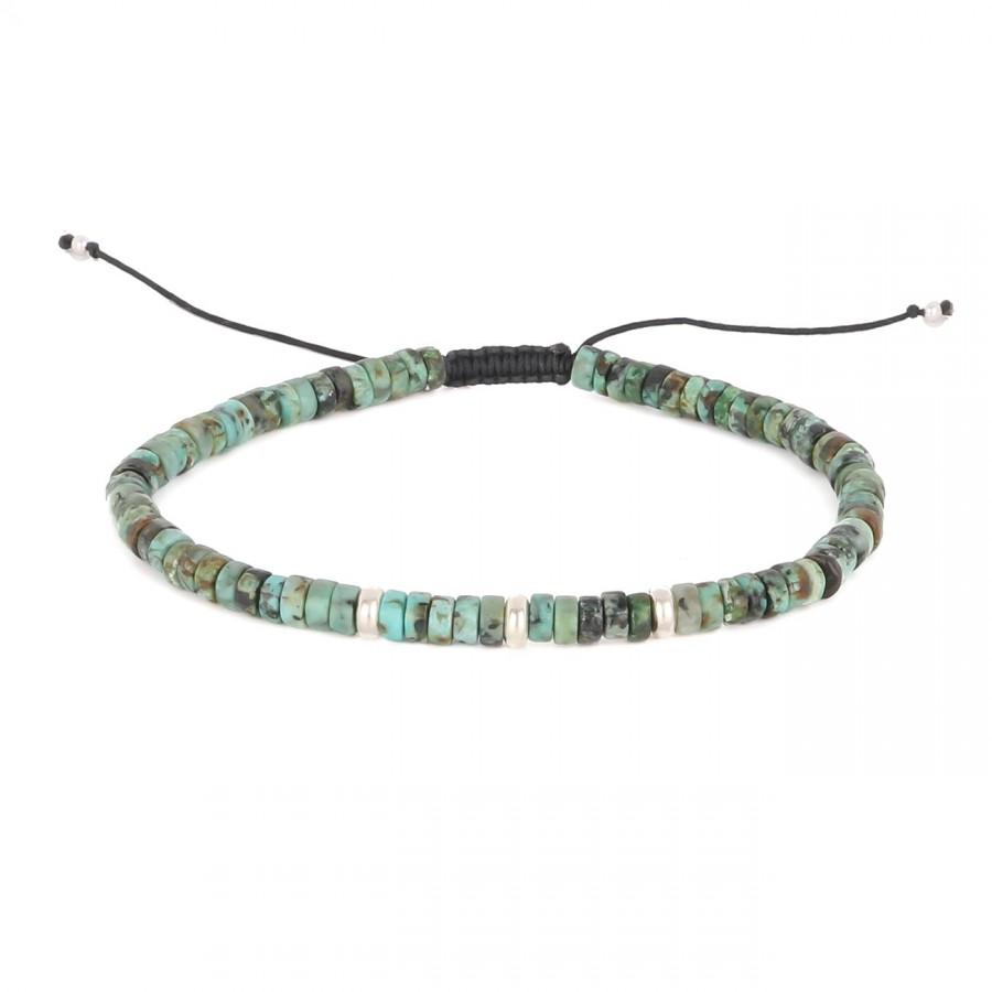 filao bracelet homme perles Turquoise 4mm argent massif