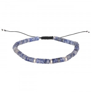 filao bracelet homme perles Sodalite bleu 4mm argent massif
