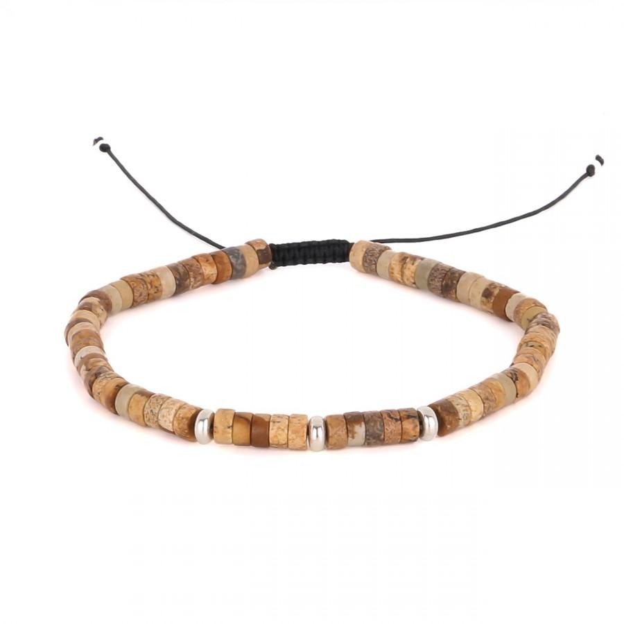 filao bracelet homme perles Jaspe beige 4mm argent massif