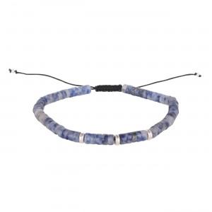 filao bracelet garçon kid perles Sodalite bleu 4mm et argent massif à porter comme Papa.