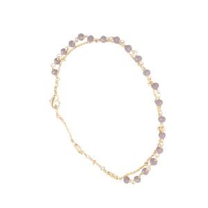 Bracelet Doré Perles Calcédoine gris Filao