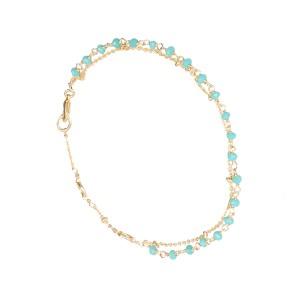 Bracelet Doré Perles Aqua Calcédoine  Filao