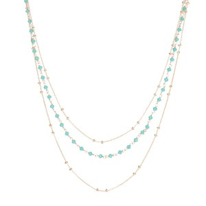 Collier Doré Perles Aqua Calcédoine  Filao