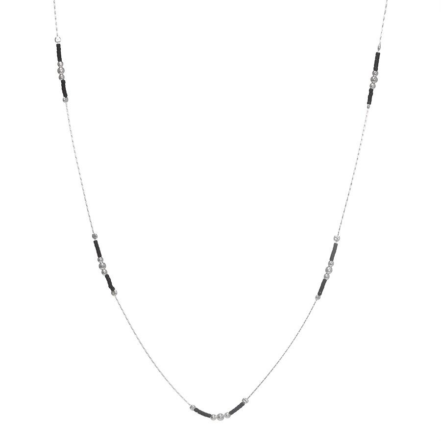 Sautoir Perles Argent Massif 925 Noire Filao