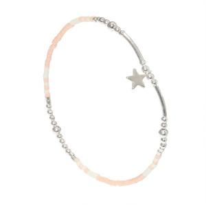 Bracelet Etoile Perles Argent Massif 925 Rose Filao