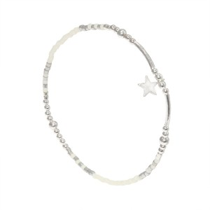 Bracelet Etoile Perles Argent Massif 925 Blanc Filao