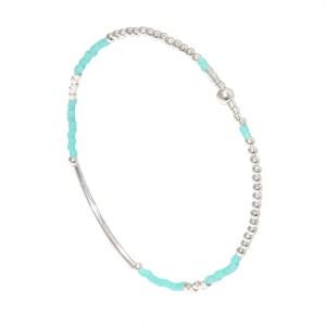 Bracelet Perles Argent Massif 925 Lagon Filao