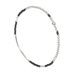 Bracelet Perles Argent Massif 925 Noire Filao