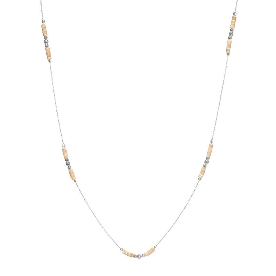Sautoir Perles Argent Massif 925 Coquillage Ivoire Filao